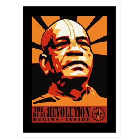"""Prabhupada Revolution Stickers 3""""x 4"""" pack of 5"""